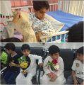 30 طالباً من مدرسة النور الابتدائية بغرب الدمام يعودون زميلهم المنوم بالمستشفى
